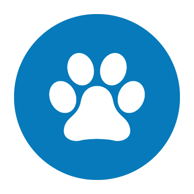 Paw Print in Blue Circle. Click here to schedule an appointment in Rufus Time