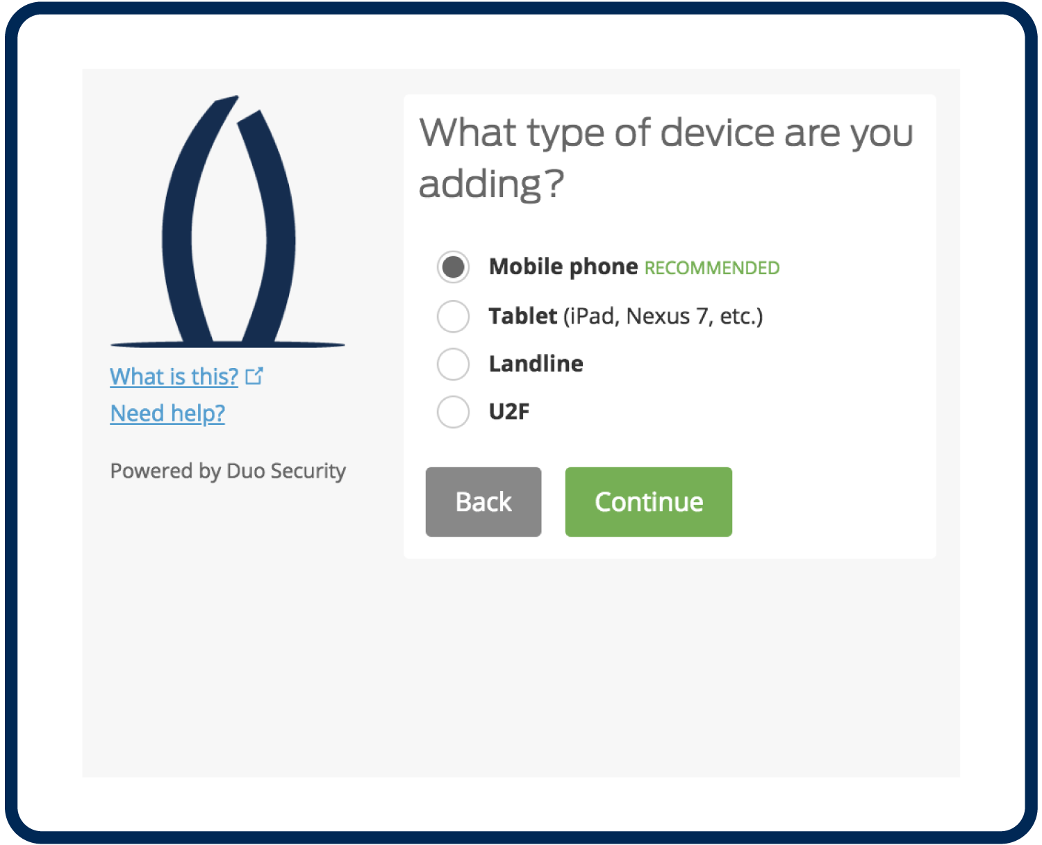 "Screenshot of screen reading ""What type of device are you adding?"" and the ""Mobile Phone"" option selected"