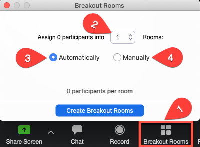 Select the number of breakout rooms and how to divide participants