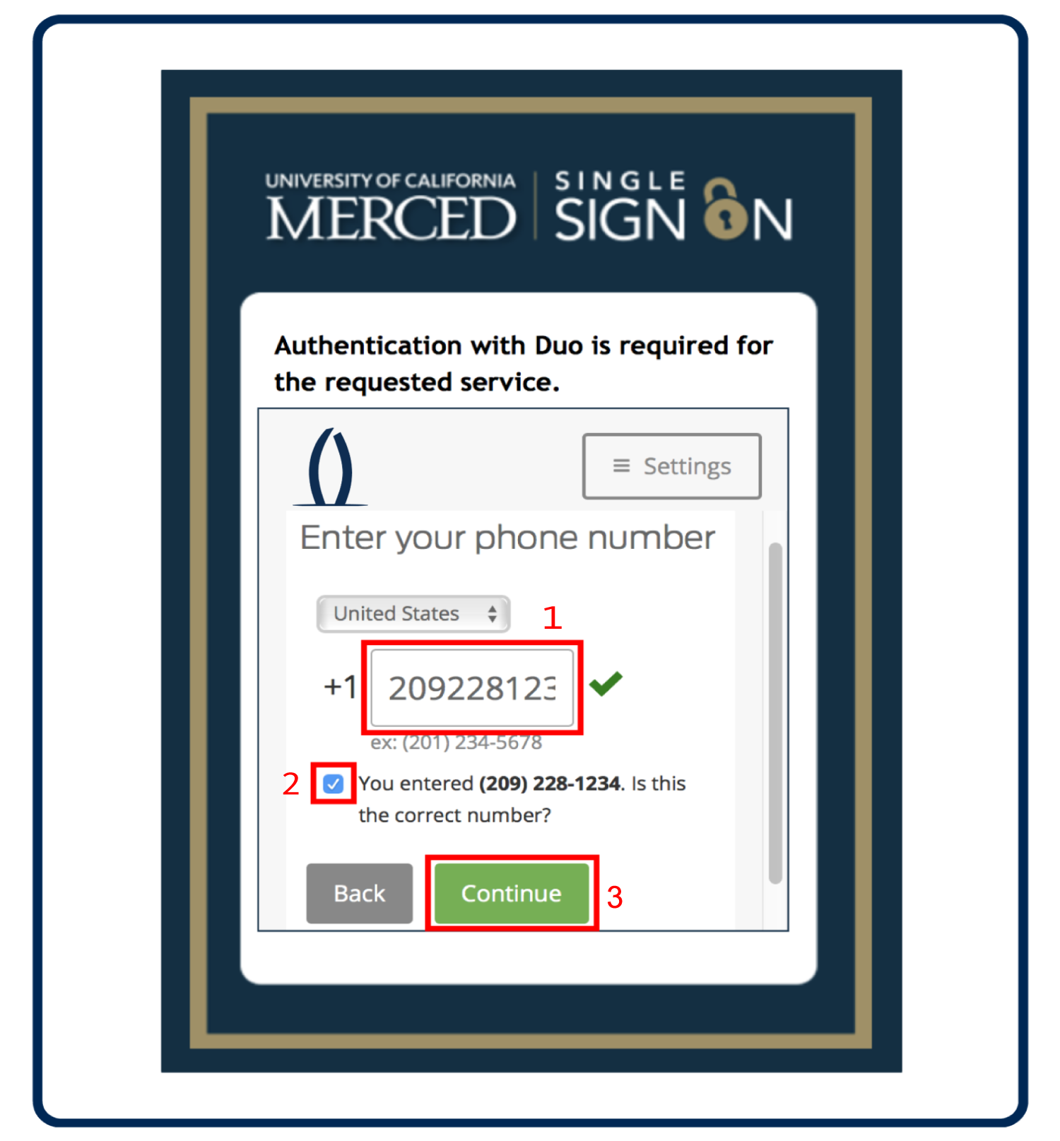 Enter your mobile phone number, verify your number is correct, click the check box, and click Continue.