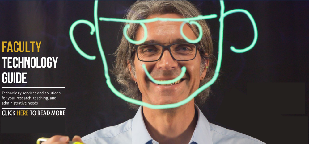 Faculty member Mike Dawson smiles at the camera. Superimposed over his face is a smiley face he drew on UC Merced's Learning Glass, the technology that allows him to easily record his lectures for students to view offline.
