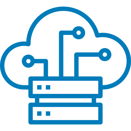 Wired network symbol with a cloud behind. Click here to learn about High-Performance Networking at UC Merced