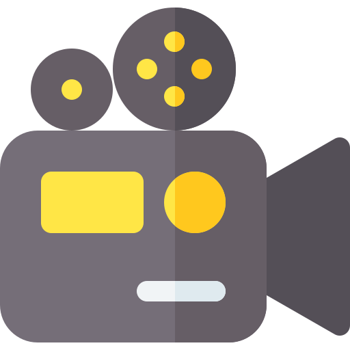 Old-fashioned movie film camera icon