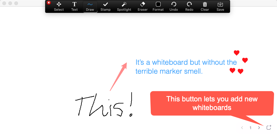 Screenshot how to turn on virtual whiteboard and button that enables you to add new whiteboards