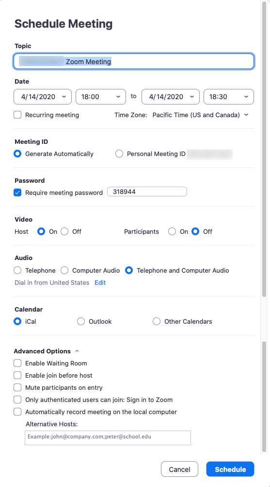 all options that appear when scheduling a meeting