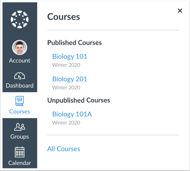 catcourses course menu showing unpublished and published courses