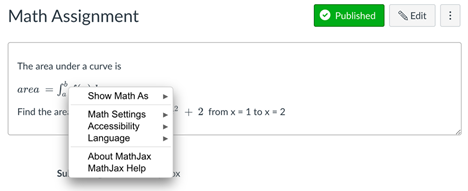 mathjax right click context menu showing options