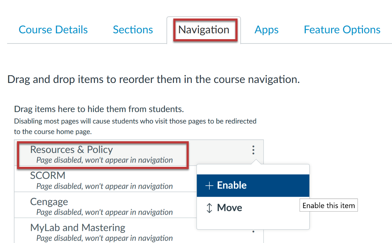 CatCourse Navigation tab highlighted, with Resources and Policy tool highlighted and three dots on right showing +Enable dropdown