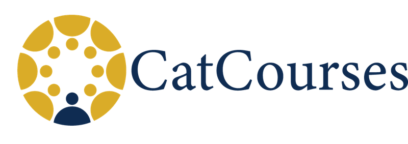 """Canvas logo in yellow and blue with text """"CatCourses"""""""