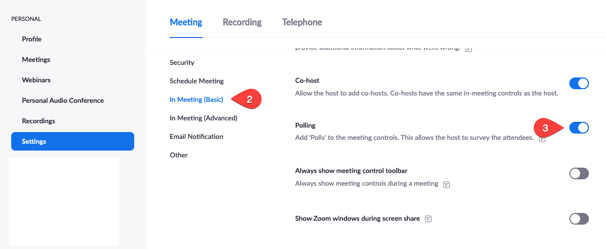 turn on the polling toggle on the Zoom settings page under the meeting tab