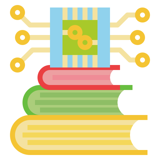 Stack of books with a computer network icon