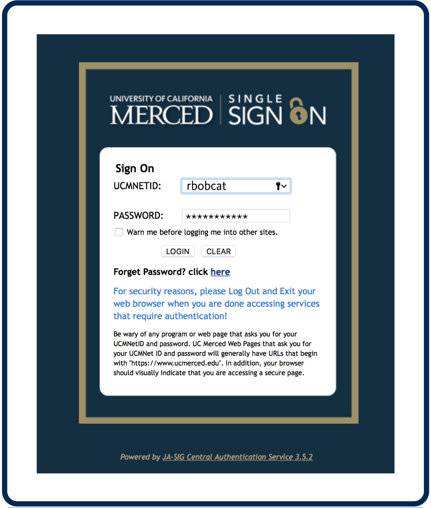 Screenshot of UC Merced Single Sign On with rbobcat's login credentials