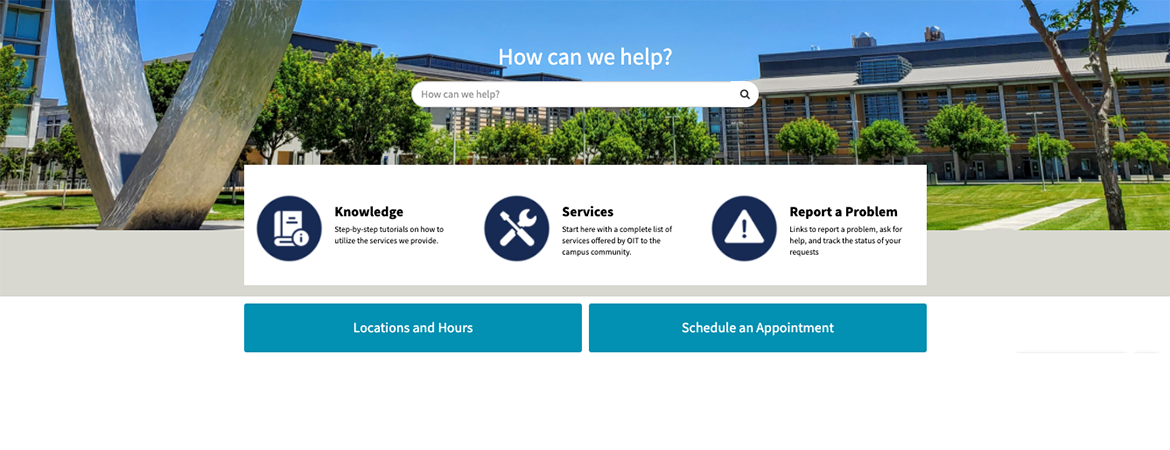 full screen image of the new OIT Service Hub interface