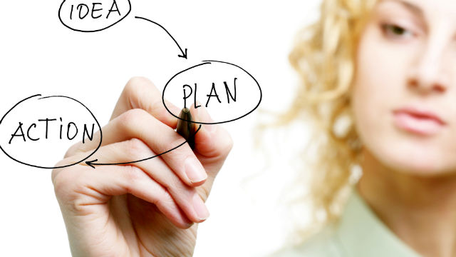 "Woman drawing thought diagram with words ""Idea"", ""Plan"", and ""Action"""