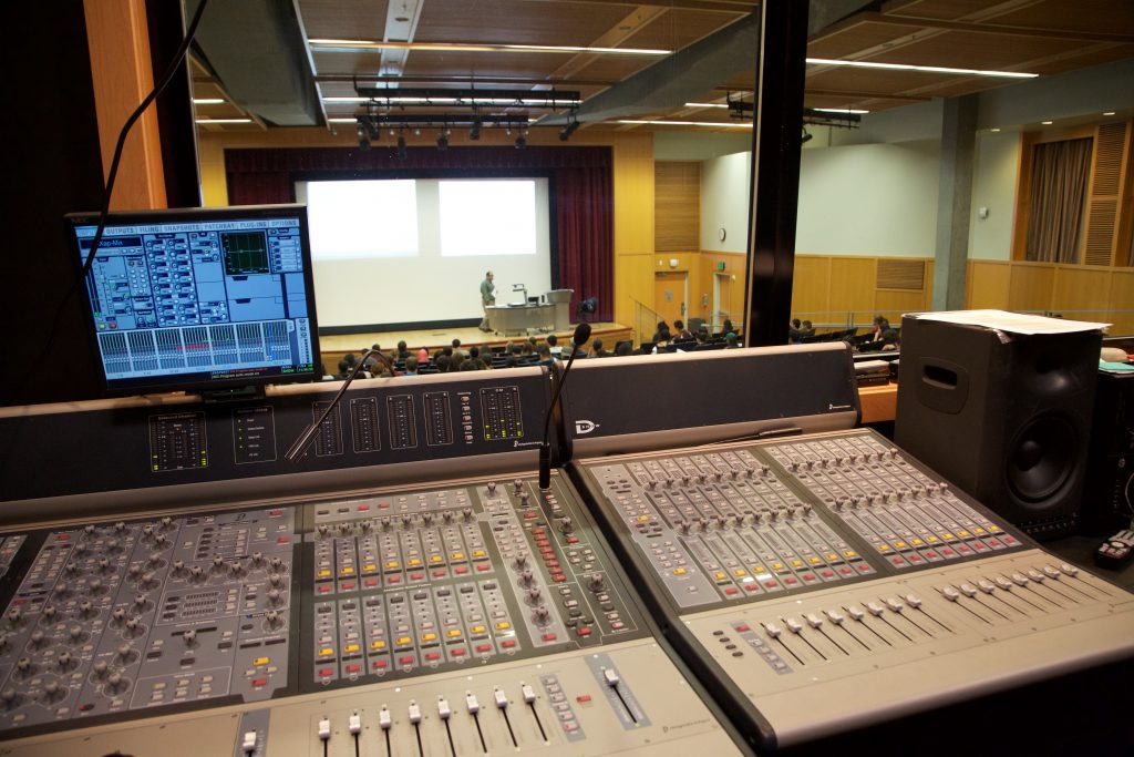 Sound booth in Lecture Hall COB 102