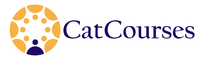 "Canvas logo in yellow and blue with text ""CatCourses"""