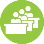 """Green Circle with students sitting at desks. Designates section """"Classroom Details"""""""