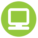 "Green Circle with computer monitor. Designates section ""Information Technology"""